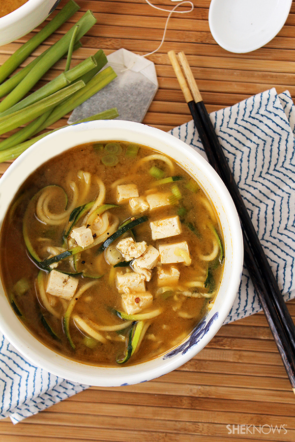 Miso green tea and ginger tofu soup with zucchini noodles