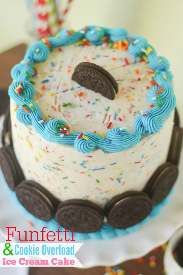 Funfetti and cookie overload ice cream cake