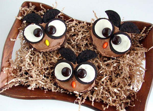Owl Chocolate Cupcakes