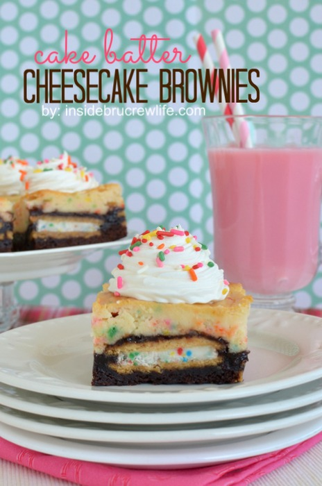 Cake batter cheesecake brownies