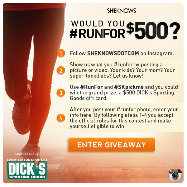Enter to win a $500 Dick's Sporting Goods gift card at SheKnows!