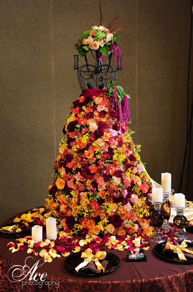 A wedding dress made out of flowers