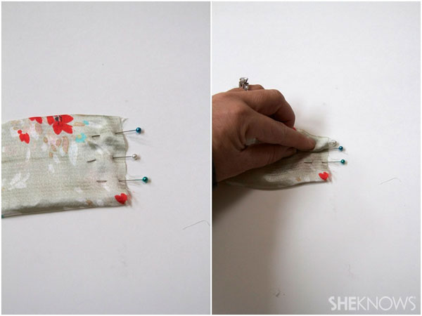 DIY fabric headband:Use pins to mark the ends of the front piece