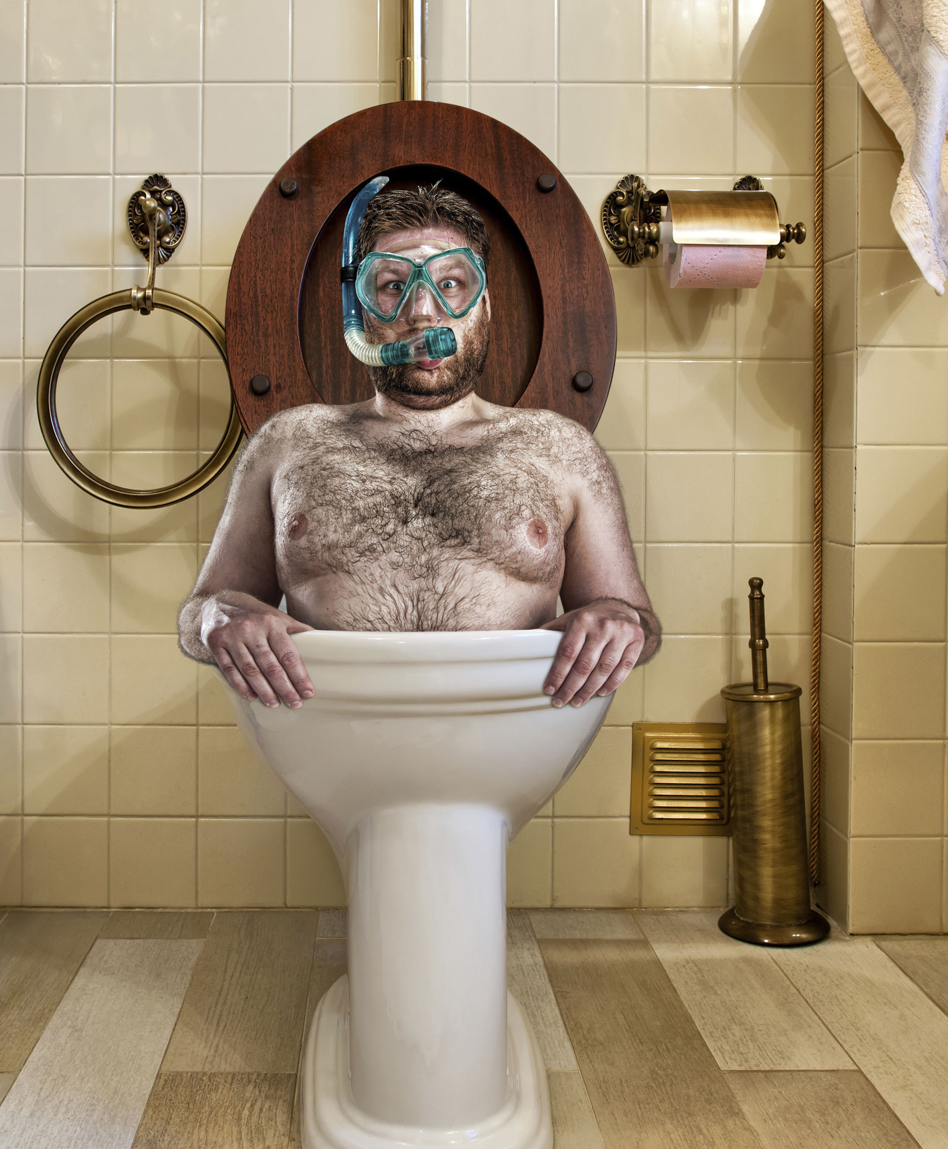 Bizarre man in vintage toilet