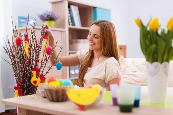 Woman decorating for easter
