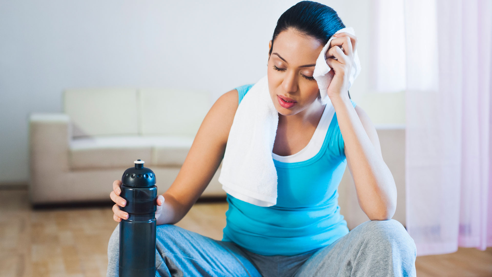Woman tired from workout