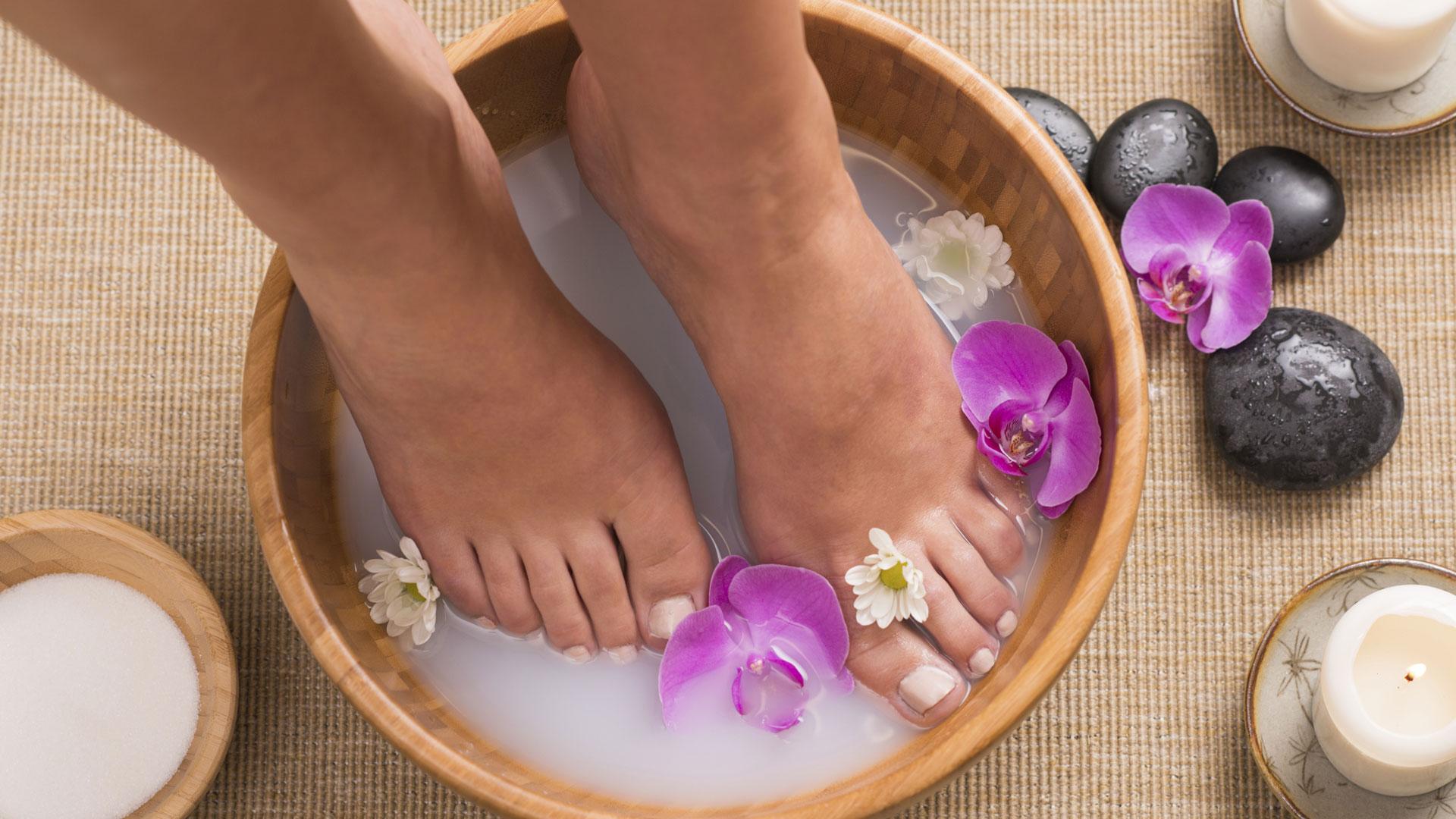 Woman's feet at spa
