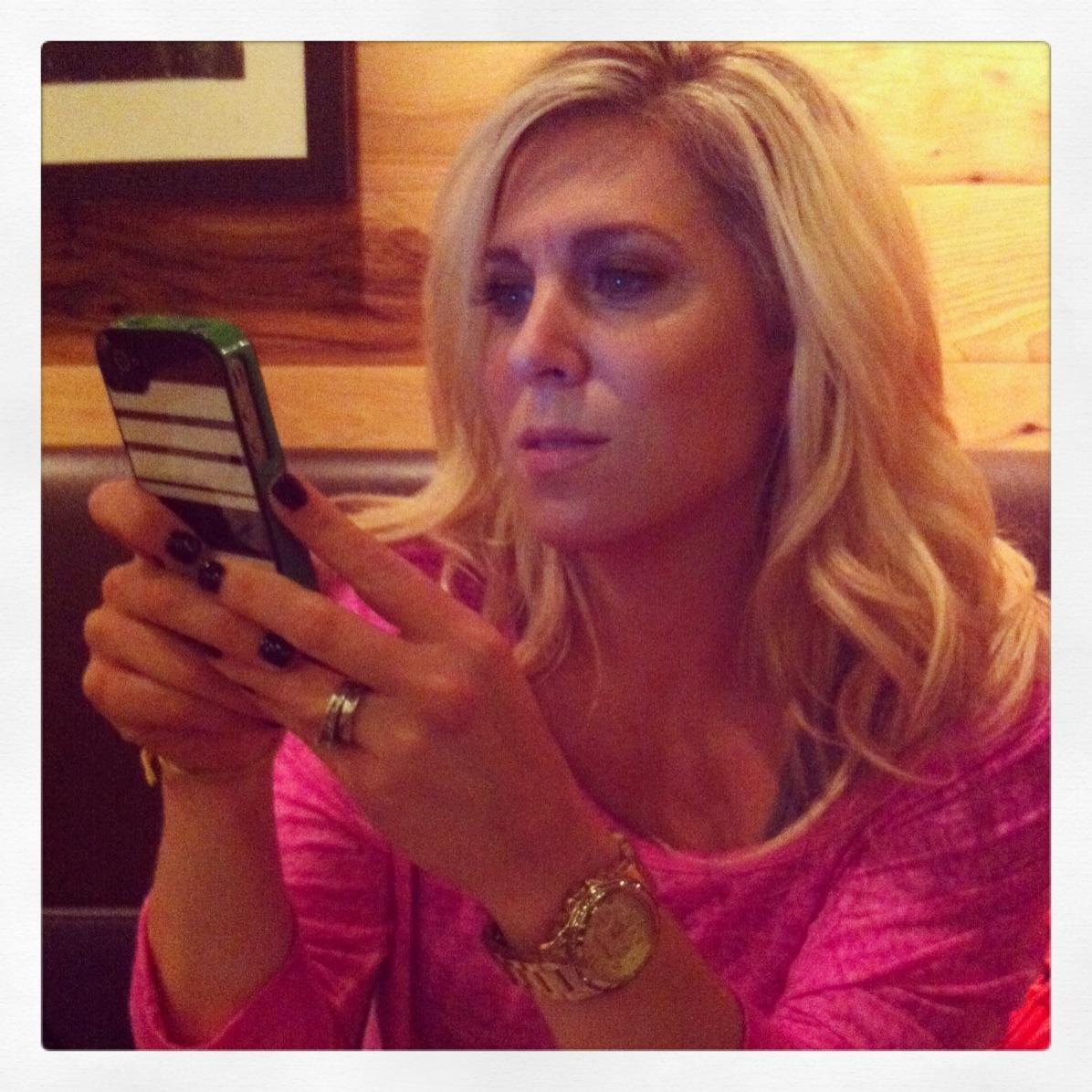 Audrey McClelland using phone