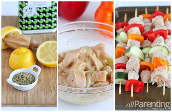 allParenting Grilled chicken & vegetable kabobs prep collage