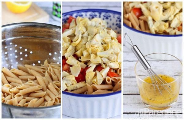 allParenting Tomato & artichoke pasta salad prep collage