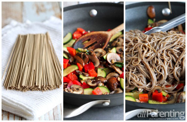 Vegetable Soba Noodle Salad prep collage