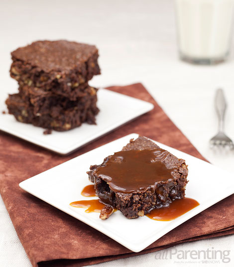 allParenting Chocolate pecan brownies with salted caramel drizzle