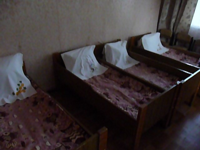 Zeke's bed in Ukrainian orphanage