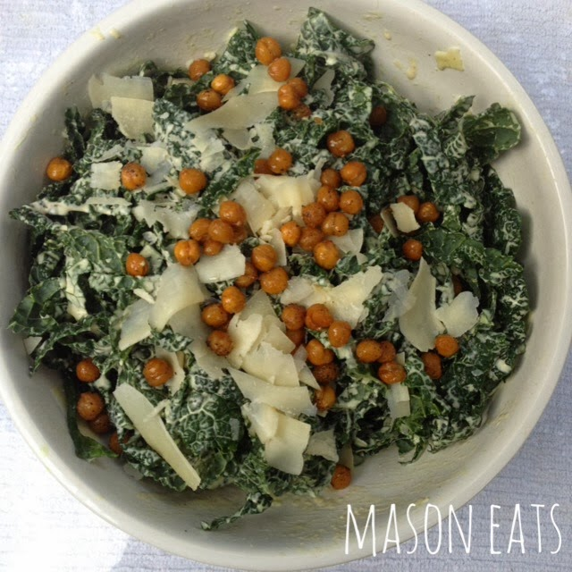 MOther's Day salad- Kale Caesar salad with crispy chickpeas