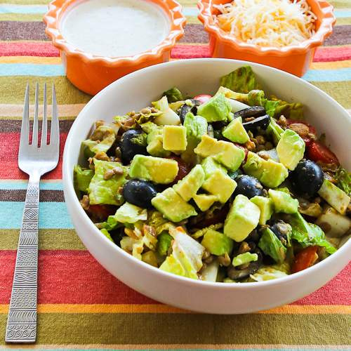 MOther's day salad- Vegetarian Lentil Taco Salad with Tomatoes, Olives, and Avocado