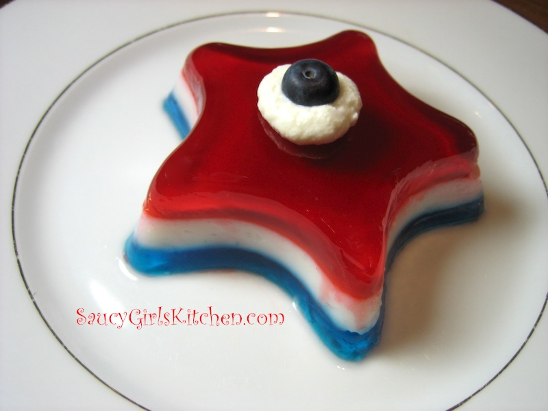 Patriotic desserts-Red, white and blue Jell-o stars