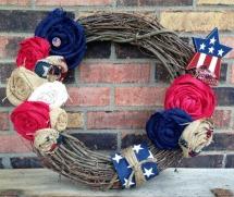 Patriotic wreaths- Burlap patriotic wreath