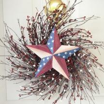 Patriotic wreaths- Barn star berry wreath