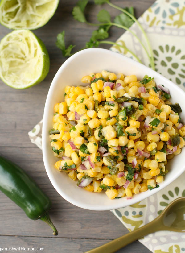 Garnish with Lemon- Almost Chipotle's Corn and Roasted Poblano Salsa
