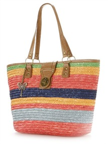 Summer totes- Sun N Sand Striped Straw Tote