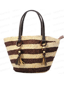 Summer totes- Striped Straw Tote