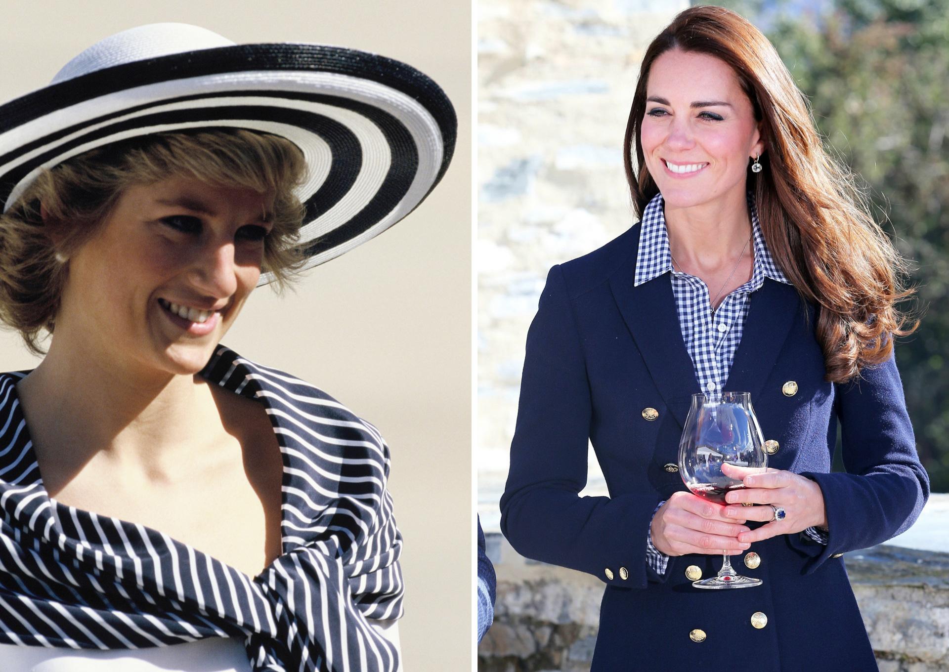 Princess Diana and Kate Middleton wearing navy
