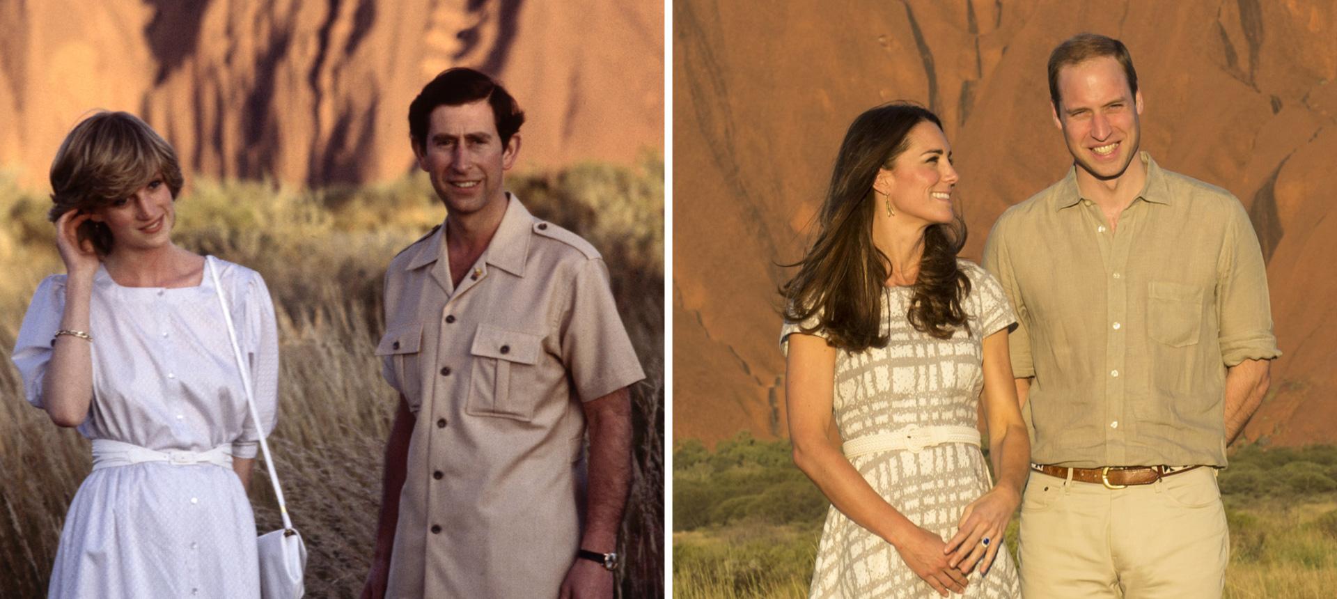 Princess Diana and Kate Middleton wearing white