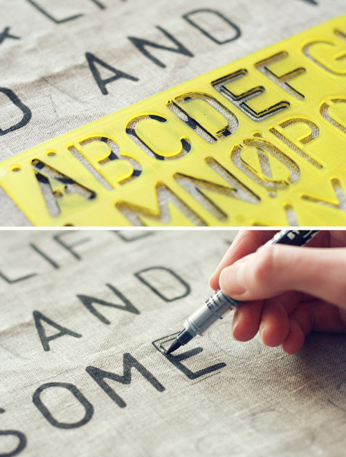 Stenciled word pillows