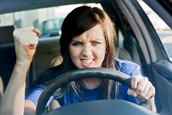 Woman with road rage