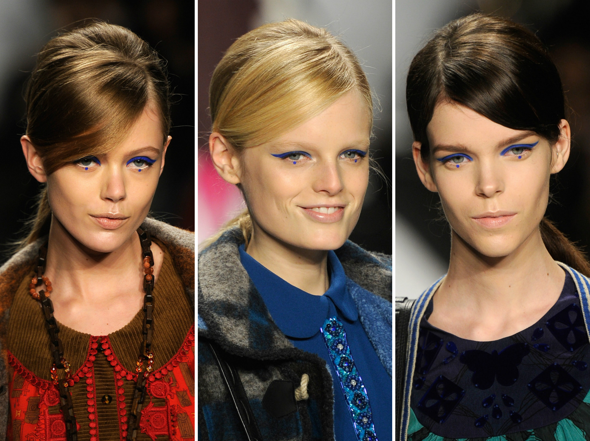 Anna Sui models wearing dotted eye makeup in 2012