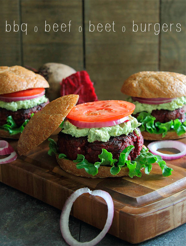 ... burger with a juicy beef one? These BBQ beef beet burgers appear