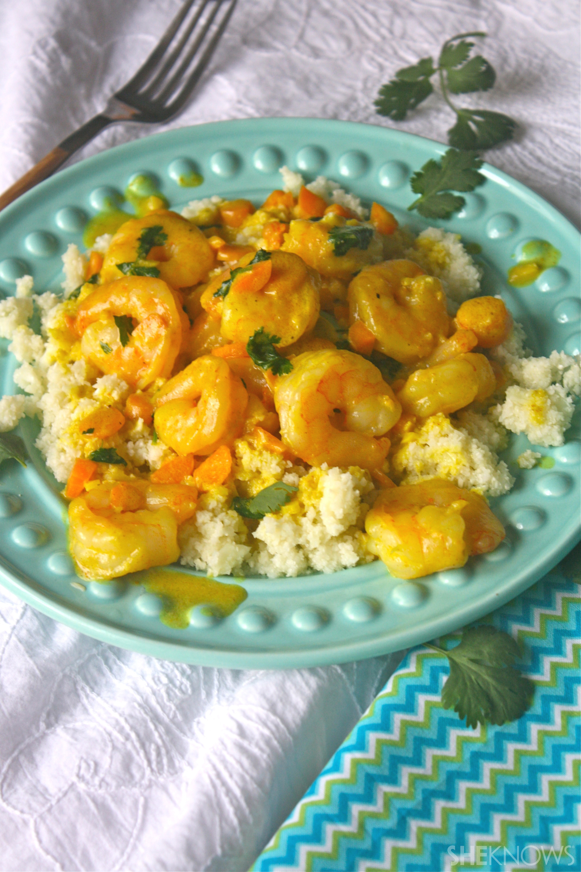 Gluten-free curried shrimp with cauliflower rice