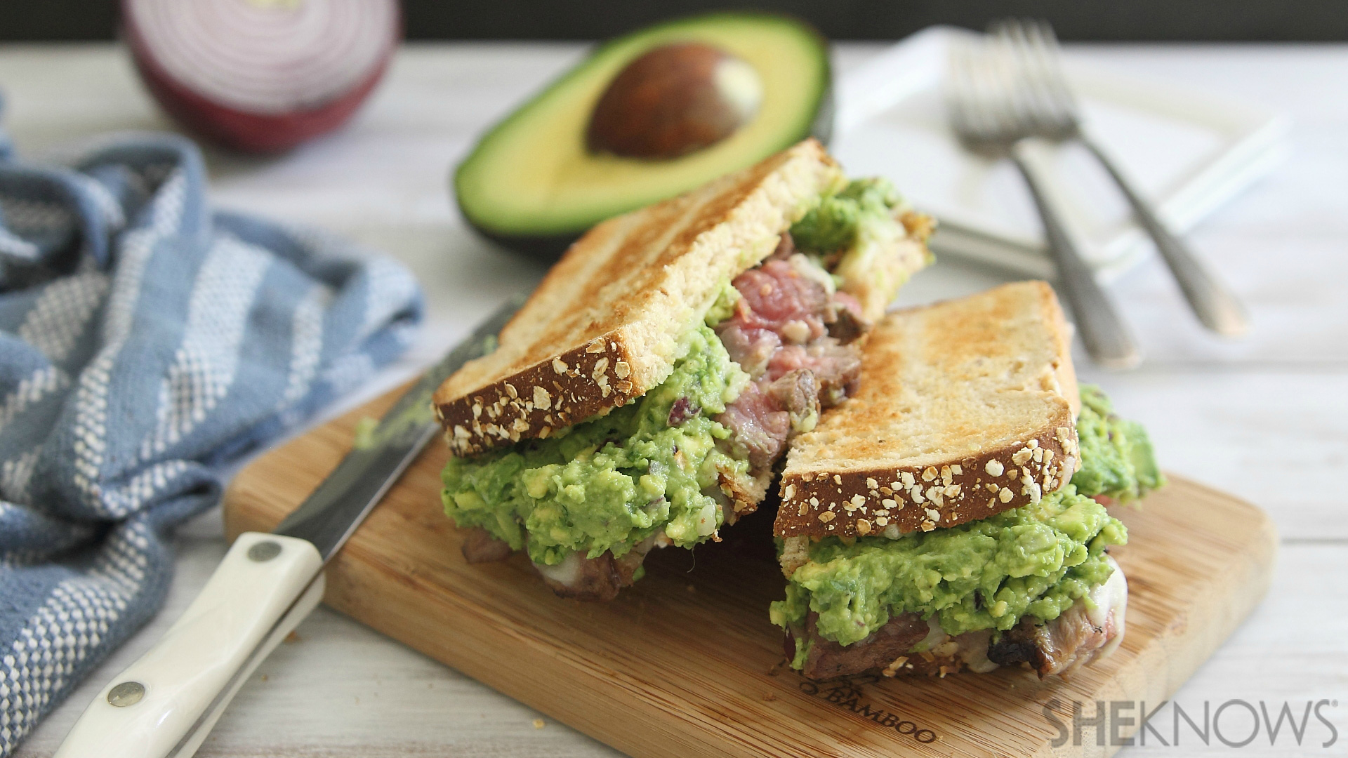 Cheesy steak & guacamole sandwich