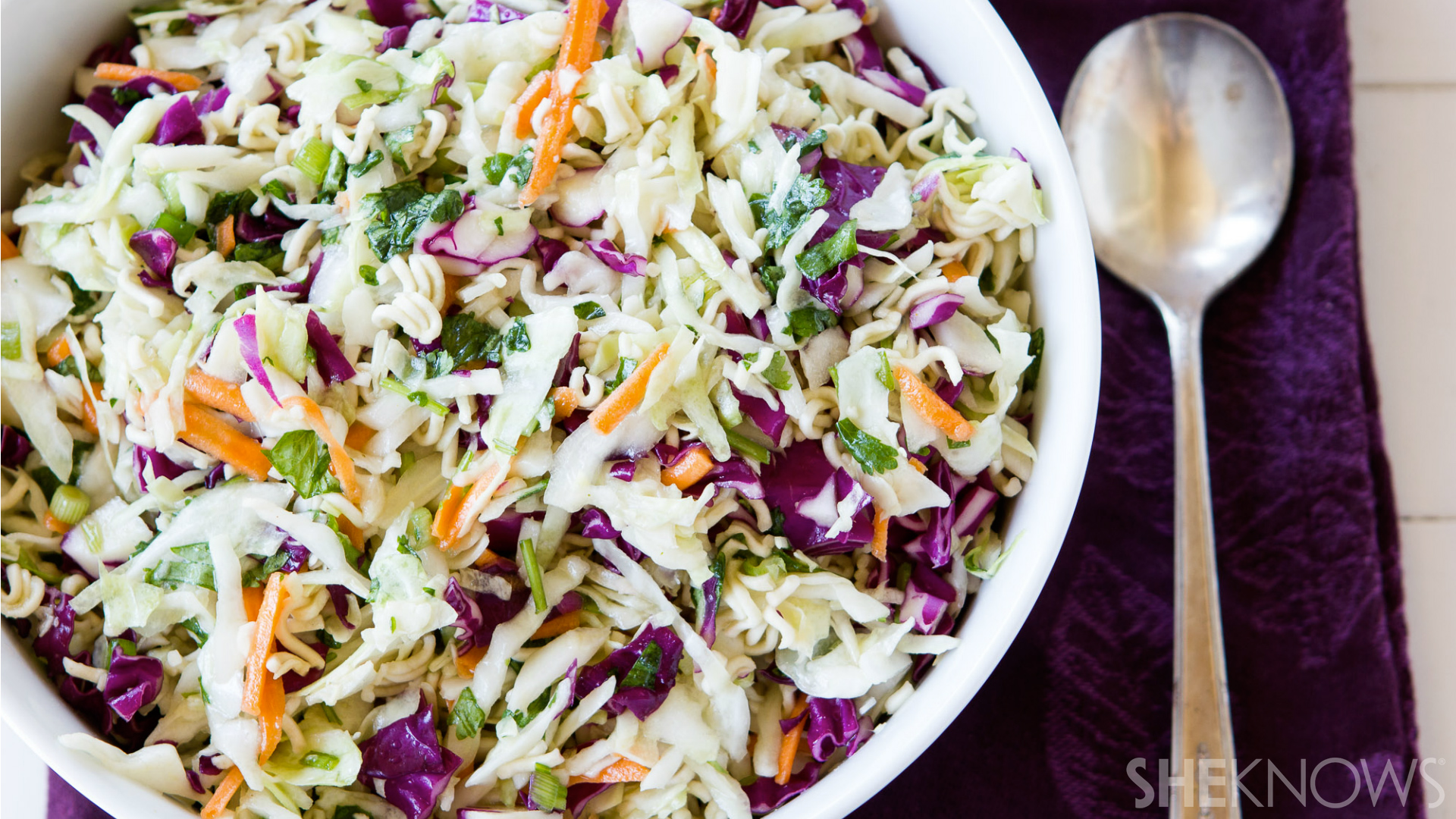Crunchy coleslaw with ramen noodles