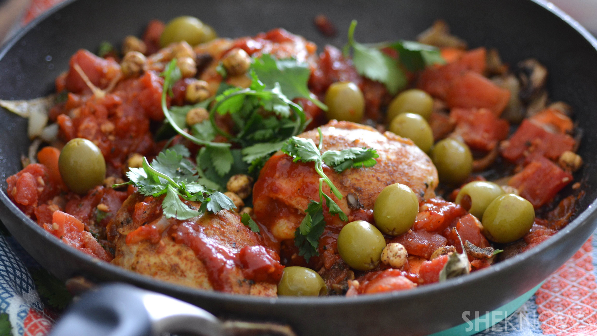 One skillet chicken tagine