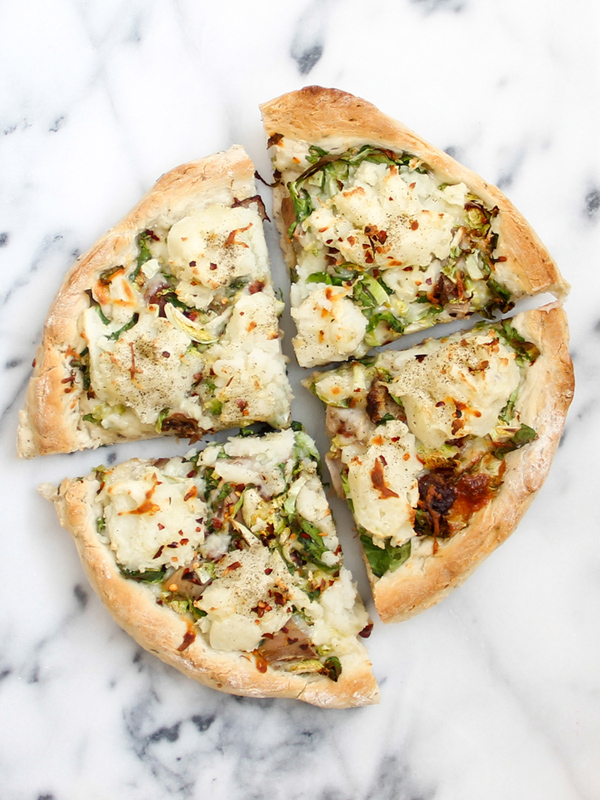 Duck confit pizza with mashed potatoes and Brussels sprouts