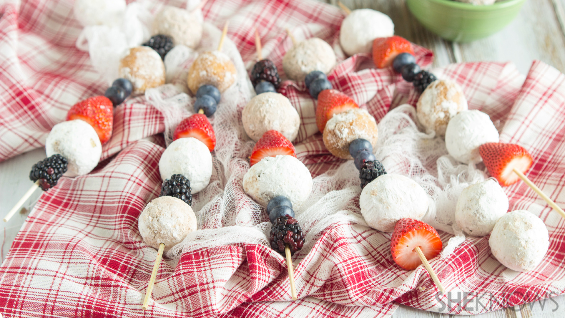 Donut hole kabobs with fresh fruit