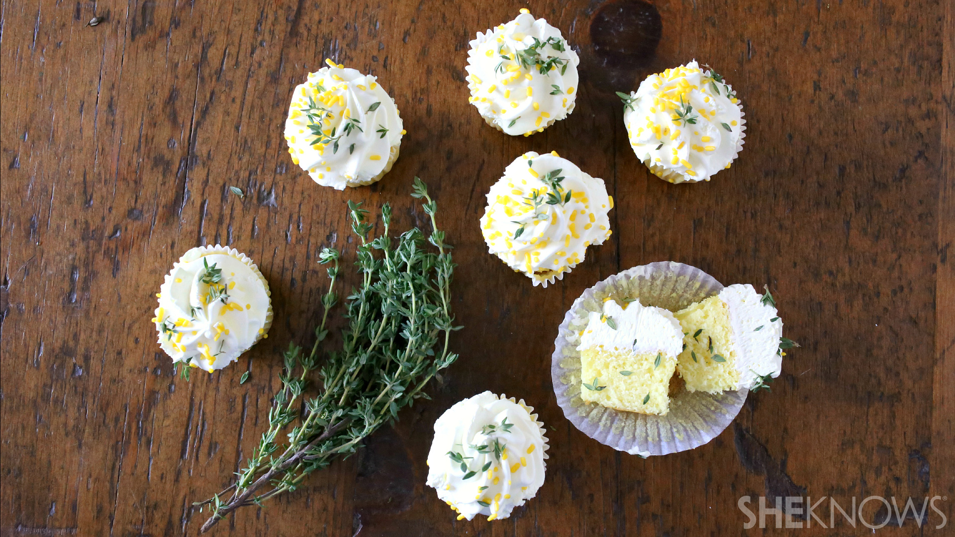 Lemon thyme olive oil cupcakes with lemon thyme buttercream