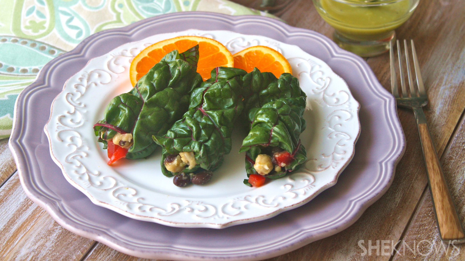 Vegan Swiss chard bean burritos with avocado dressing