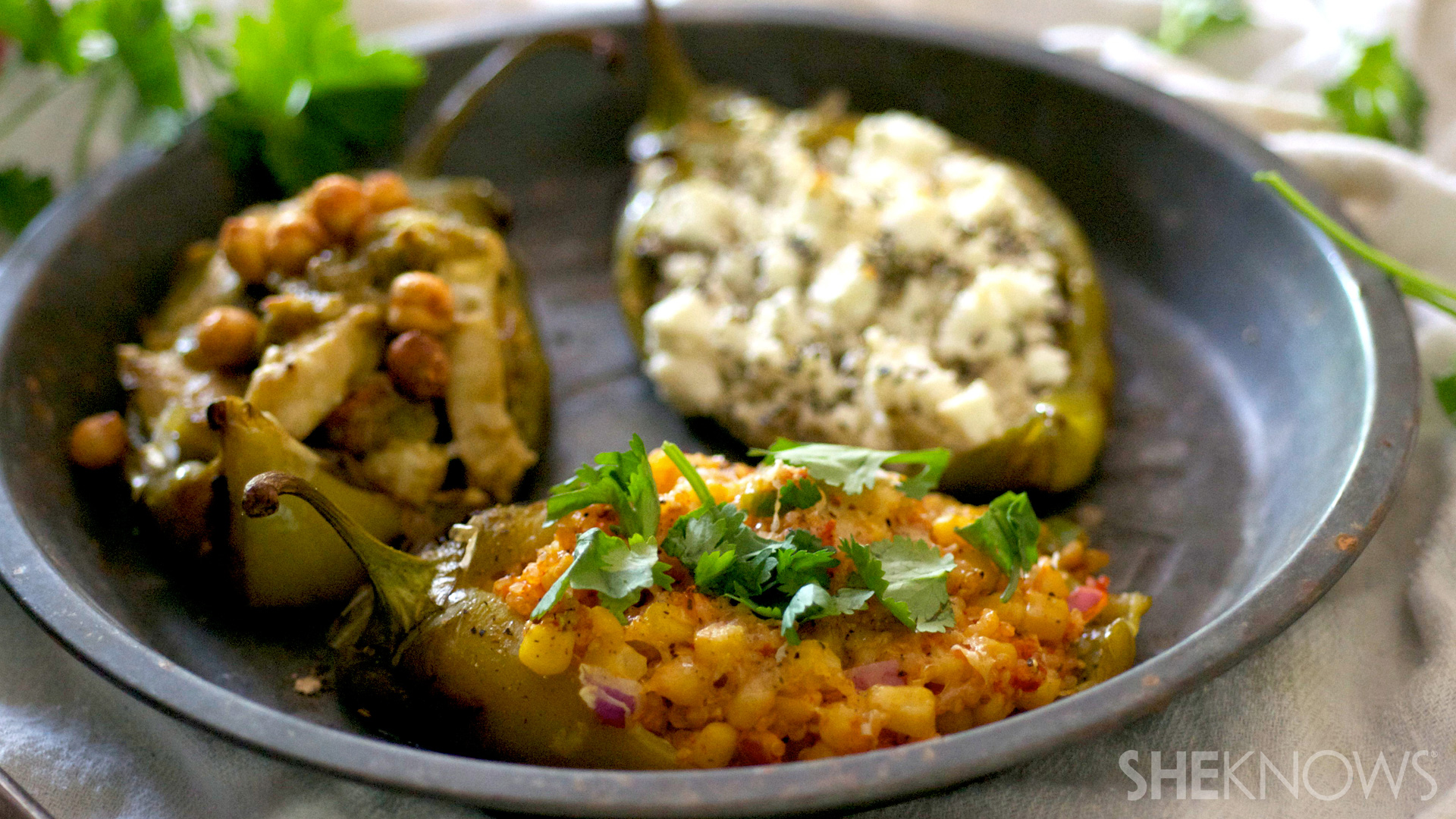 3 Stuffed and grilled poblano peppers