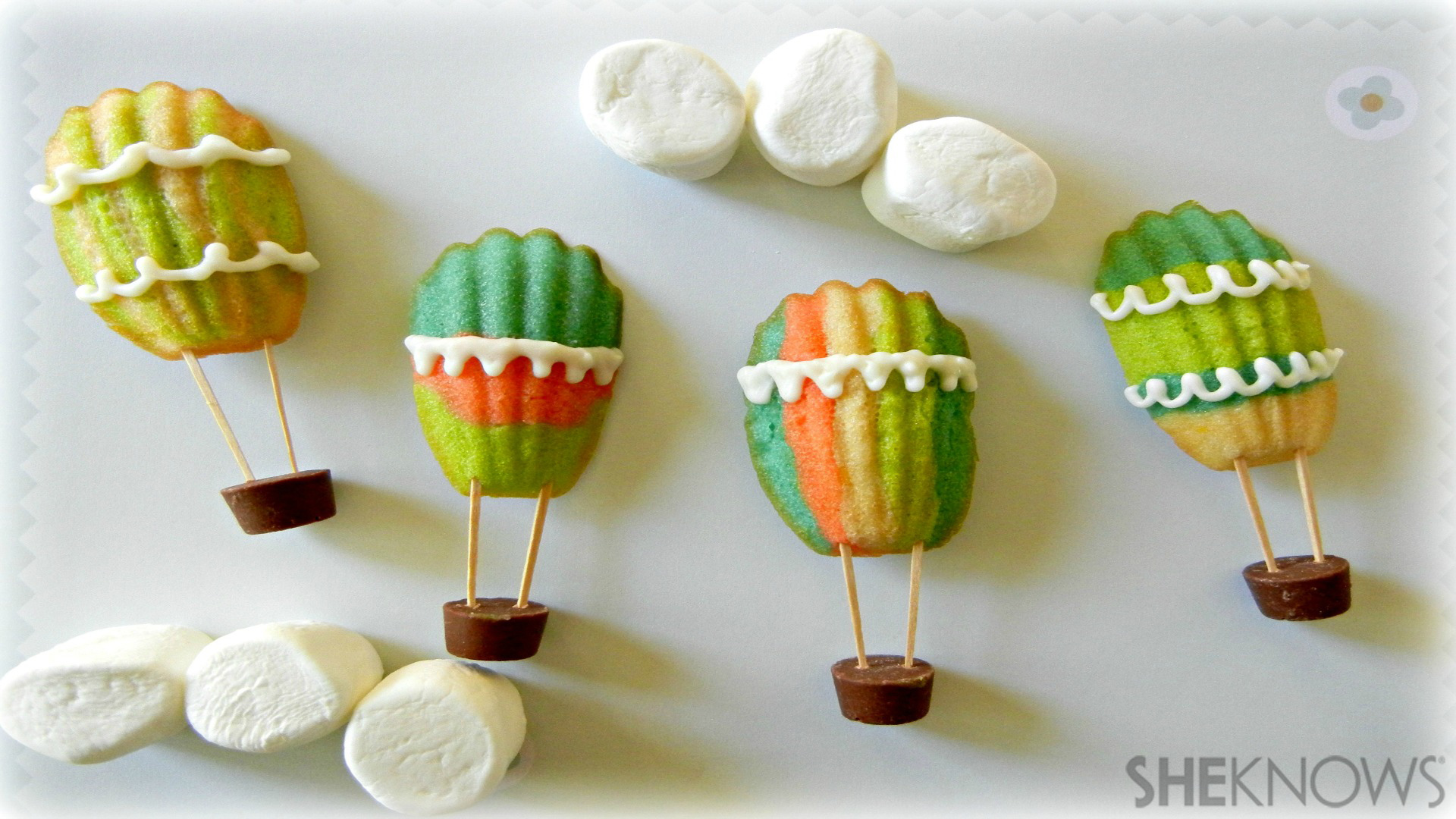 Colorful, edible hot air balloons