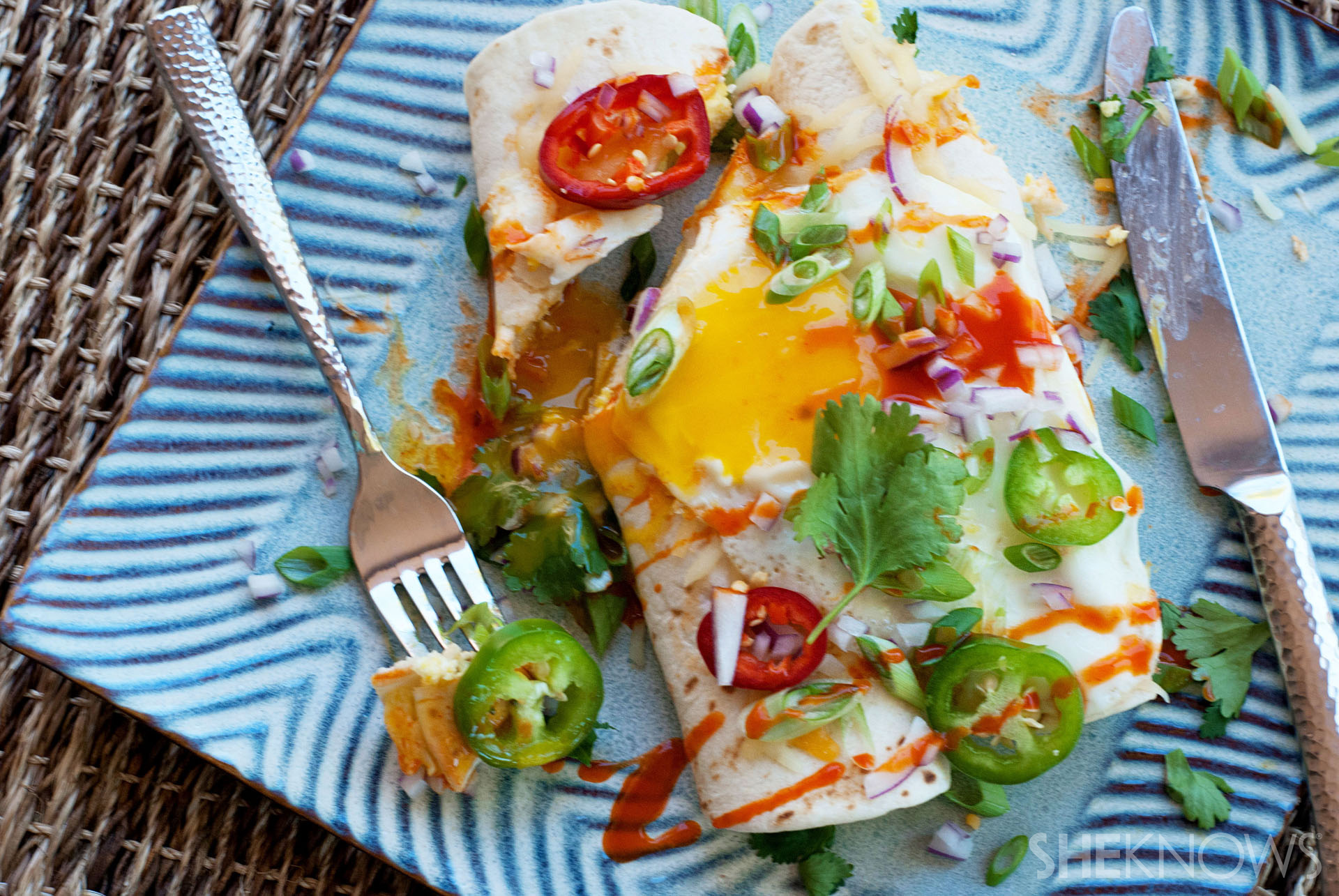 Morning enchiladas with an egg on top