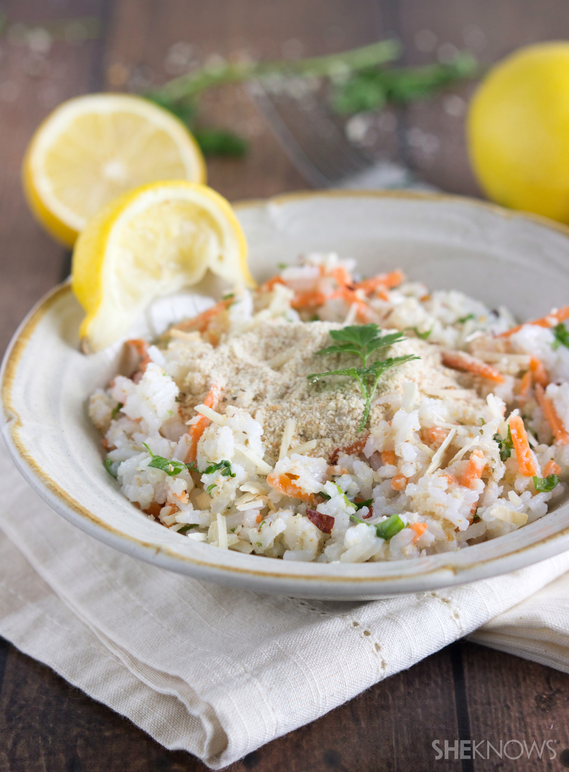 Lemon-parsley rice with shredded carrots