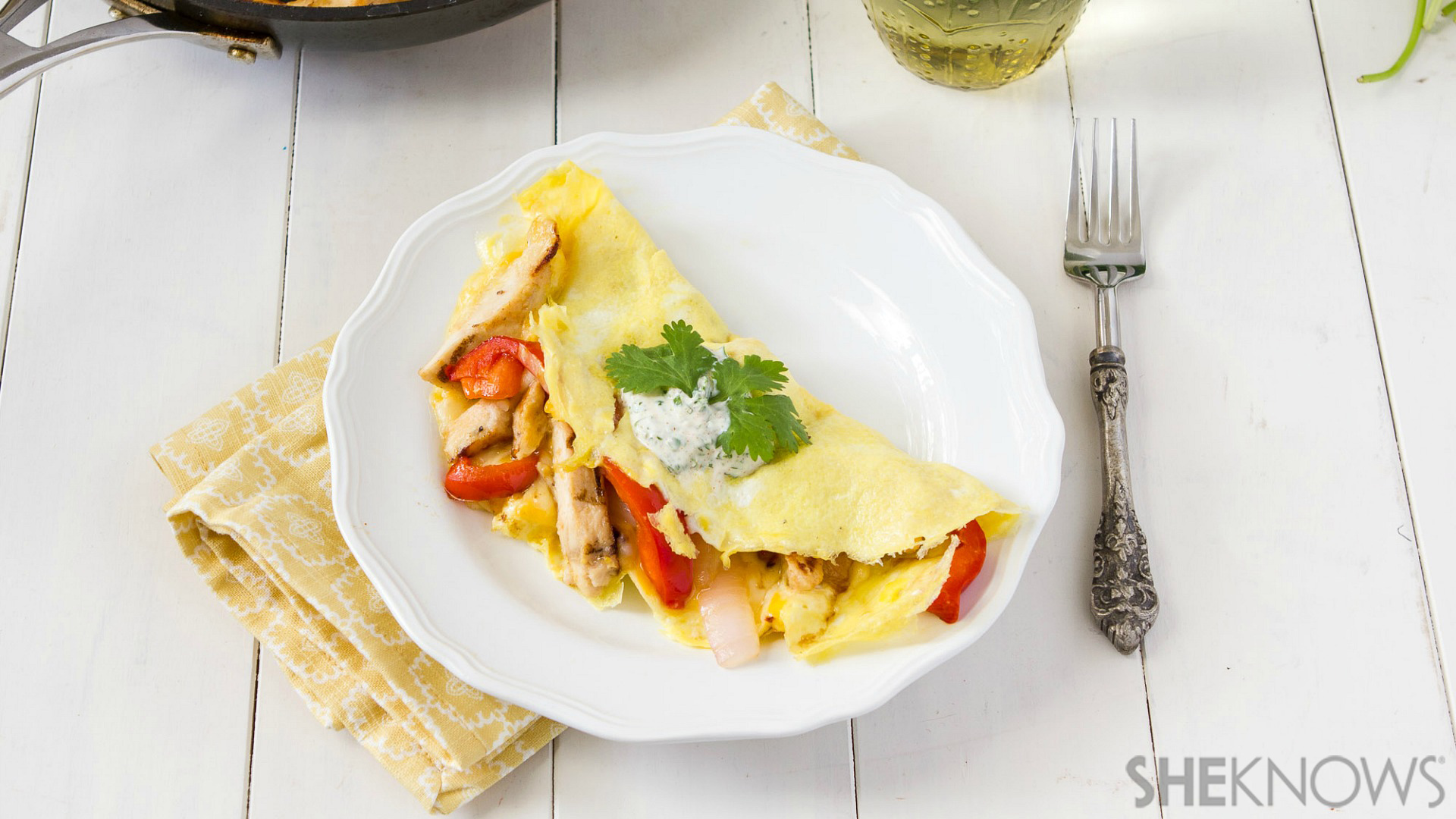 Chicken fajita omelets