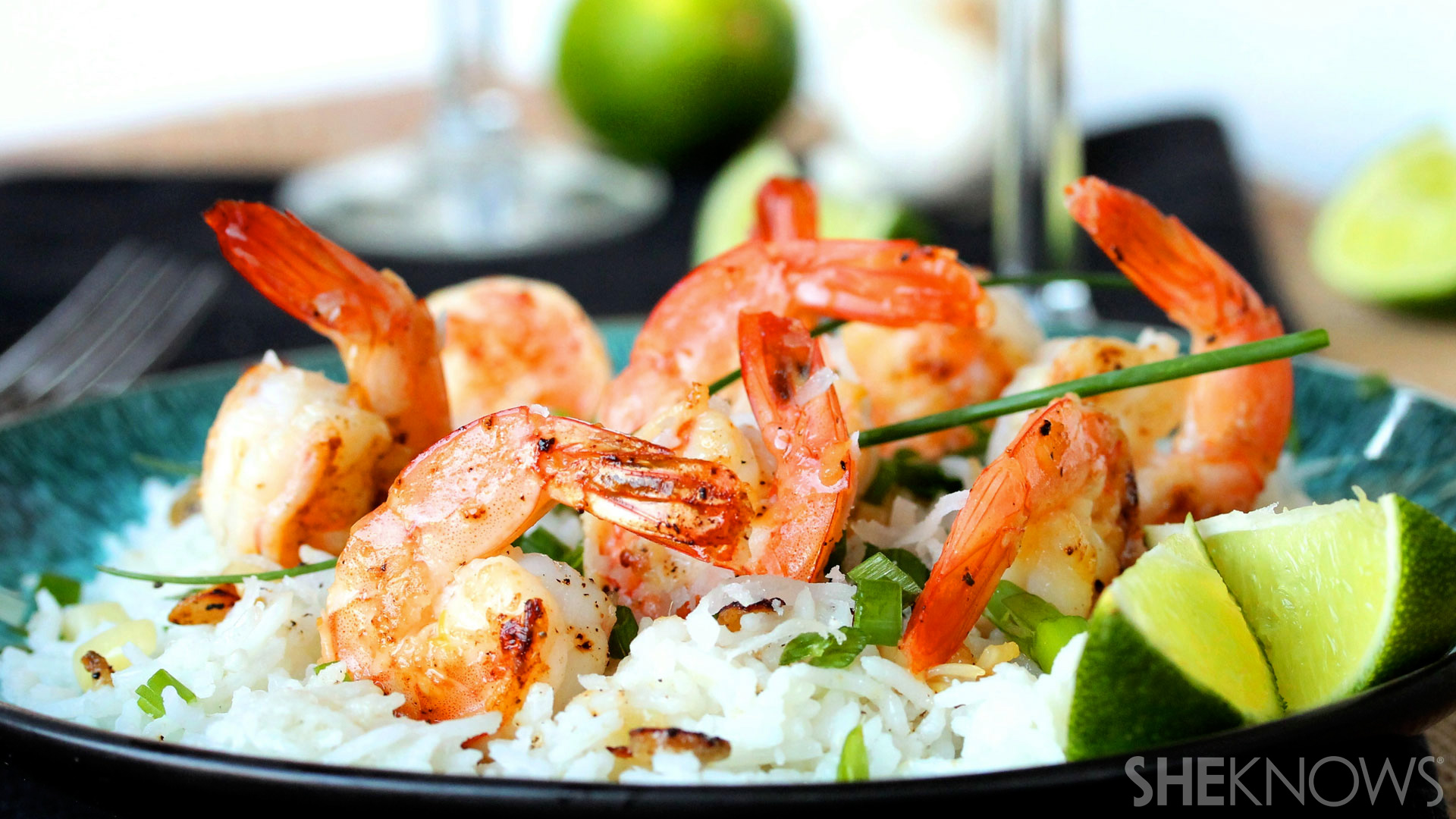 Roasted garlic butter shrimp with coconut rice