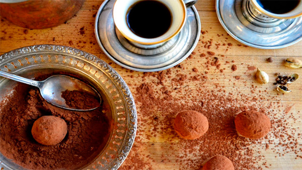Coffee and cardamom truffles