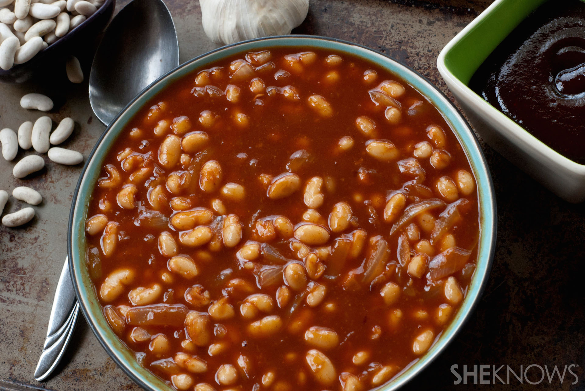 Barbecue sauce and beans spiked with soda