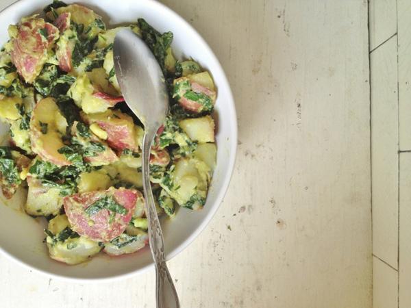 Creamy avocado and kale potato salad
