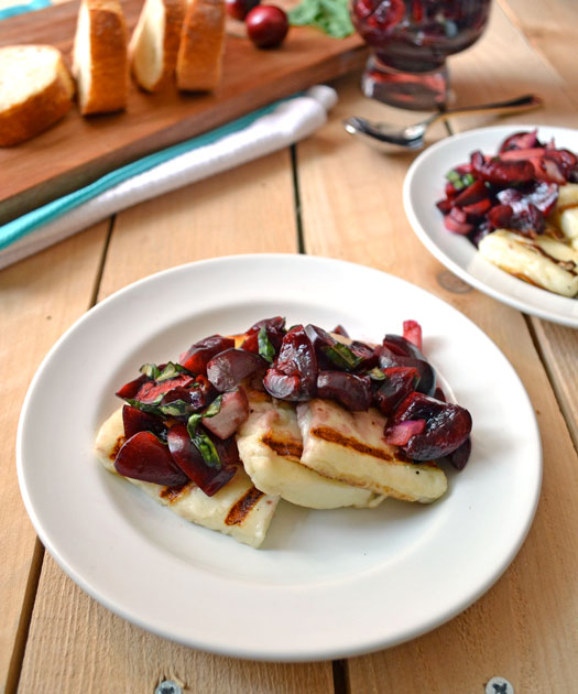Grilled halloumi cheese with fresh cherry salsa