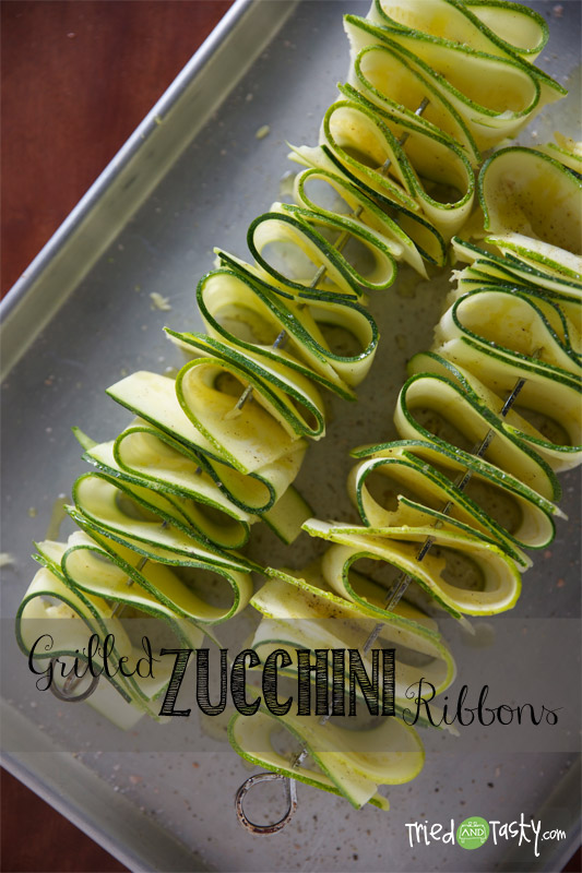 Grilled zucchini ribbons